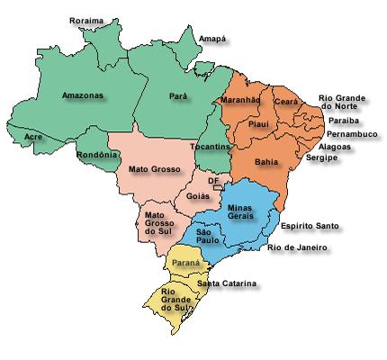 Mapa do Brasil Atual - 26 Estados + Distrito Federal